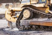 picture of earth-mover  - Bulldozer machine doing earth moving work in construction site