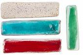 image of raku  - Handmade glazed ceramic elements isolated on white - JPG
