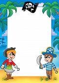 Постер, плакат: Рамка с пират мальчик и девочка