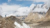 stock photo of skardu  - Baltoro Glacier Trekking Adventure Karakorum Mountains Pakistan - JPG