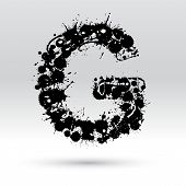 image of g-spot  - Letter G formed by black and white ink blots - JPG