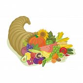 stock photo of horn plenty  - Abundance horn with various fruits and vegetables - JPG