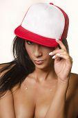 pic of ball cap  - Sexy beautiful woman wearing baseball cap - JPG
