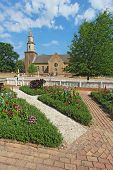 Gardens At Colonial Williamsburg In Front Of Bruton Parish Church