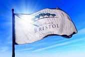 Bristol Wisconsin (U.S.) flag waving on the wind