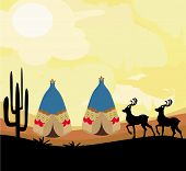 pic of wigwams  - wild landscape with two wigwams and wild animals  - JPG
