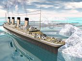 image of passenger ship  - Famous Titanic ship floating among icebergs on the water by cloudy day - JPG