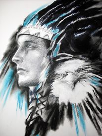 picture of indian chief  - art Illustration indian chief with eagle artwork by author - JPG