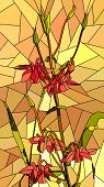 pic of columbine  - Vector vertical mosaic with large cells of columbine flowers on yellow - JPG