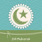 pic of eid card  - Muslim community festival greeting card design with green crescent moon and star for the festival of Eid Mubarak celebrations - JPG