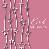 stock photo of eid card  - Beautiful pink greeting card design decorated with stars for the occasion of Muslim community festival Eid Mubarak - JPG