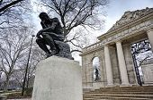 stock photo of thinker  - The Thinker by Rodin at the Philadelphia Museum of Art - JPG