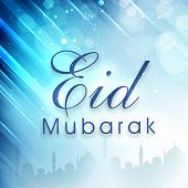 pic of muslim  - Beautiful greeting card design for Muslim community festival Eid Mubarak celebrations - JPG