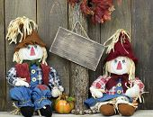 stock photo of scarecrow  - Blank rustic sign hanging on tree with boy and girl scarecrows next to pumpkin - JPG