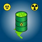 picture of radioactive  - Cartoon illustration of green barrel leaking toxic nuclear waste - JPG