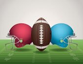 picture of football  - An illustration of an American Football field football and helmets - JPG