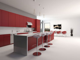 stock photo of stool  - Modern open plan red kitchen interior with a long counter with bar stools and kitchen cabinets and appliances along the wall accented in red and white decor - JPG