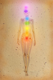stock photo of tantra  - Chakras illustrated over human body with visible skeleton on old parchment - JPG