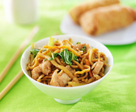 stock photo of lo mein  - chinese chicken lo mein in a bowl - JPG