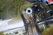 image of airboat  - An Everglades swamp boat skirts around the water - JPG