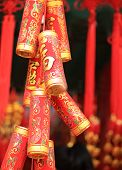 foto of chinese crackers  - fake chinese firecrackers for decoration the chinese new year - JPG