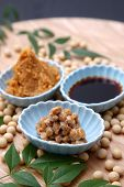 image of soybeans  - group shot of Japaneese traditional soybean processed foods Natto - JPG