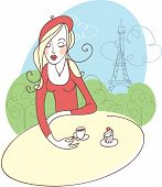 pic of french beret  - French girl drinking coffee in street cafe - JPG