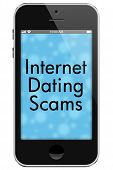 picture of hookup  - Internet Dating Scams Mobile Phone with words Internet Dating Scams in Text isolated on a white background - JPG