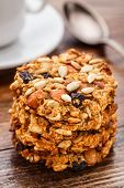 foto of baked raisin cookies  - Homemade oatmeal cookies with seeds - JPG