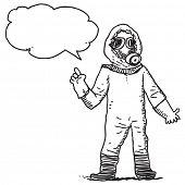 image of bio-hazard  - Man in bio hazard protection suit speaking - JPG