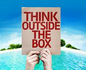 stock photo of thinking outside box  - Think Outside the Box card with a beach on background - JPG