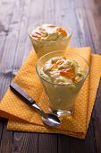 image of panna  - Aromatic panna cotta with oranges in glass on wooden background - JPG