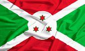 pic of burundi  - Burundi flag on a silk drape waving - JPG