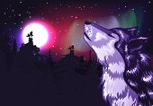 picture of wolf moon  - Abstract colorful northern landscape with moon and howling wolf - JPG