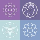 image of cosmetic products  - Vector beauty and spa line logos and signs  - JPG