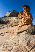 foto of hoodoo  - interesting sandstone formations in Zion National Park also known as hoodoos - JPG