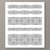 image of lace  - Set of seamless lace borders with transparent background - JPG