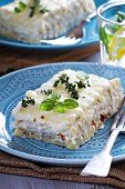 pic of lasagna  - White chicken cheese lasagna with sun dried tomatoes - JPG
