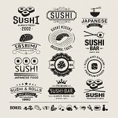 picture of sushi  - Vector Sushi logotypes set - JPG