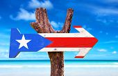 pic of greater antilles  - Puerto Rico Flag wooden sign with beach background - JPG