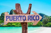 picture of greater antilles  - Puerto Rico wooden sign with beach background - JPG