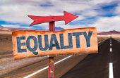 foto of equality  - Equality sign with road background - JPG