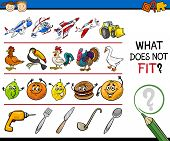 stock photo of brain teaser  - Cartoon Illustration of Finding Improper Item Educational Game for Preschool Children - JPG