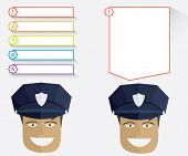 picture of policeman  - Policeman and blank message boards illustration in flat style - JPG