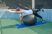 picture of stability  - Stability ball is used for building postural and core strength - JPG