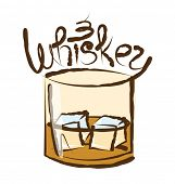picture of whiskey  - vector glass of whiskey with ice and calligraphic inscription - JPG