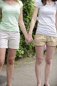foto of lesbian  - Lesbian couple holding hands outdoors - JPG