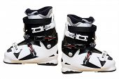 stock photo of ski boots  - Ski shoe under the light background - JPG