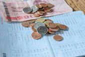 foto of passbook  - Thai money bath and Saving Account Passbook image - JPG