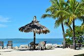 stock photo of gazebo  - Gazebo on the beach in Florida Keys - JPG